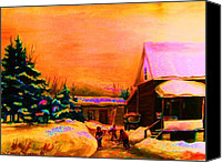 Country Scenes Painting Canvas Prints - Playing Until The Sun Sets Canvas Print by Carole Spandau
