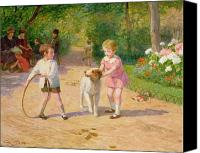 Dogs Canvas Prints - Playing with the Hoop Canvas Print by Victor Gabriel Gilbert
