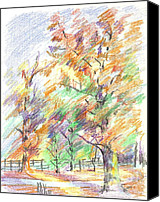 Arcadia Valley Drawings Canvas Prints - Pleasant Autumn in Brigadoon C104 Canvas Print by Kip DeVore