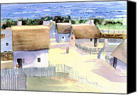 Harbor Art Painting Canvas Prints - Plimoth Plantation Canvas Print by Joseph Gallant
