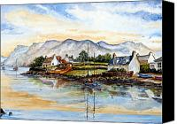 Grass Drawings Canvas Prints - Plockton Scotland Canvas Print by Andrew Read