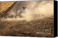 Tractor Canvas Prints - Plowing the Ground Canvas Print by Mike  Dawson