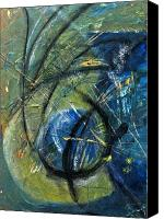 Abstract Expressionist Mixed Media Canvas Prints - Plume I Canvas Print by Lynn Hughes