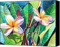 Plumeria Canvas Prints - Plumeria Garden Canvas Print by Marionette Taboniar