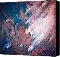 Barren Canvas Prints - Plumes Of Smoke Rising From A Landscape Seen From Space Canvas Print by Stockbyte