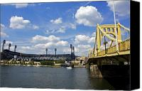 Clemente Photo Canvas Prints - PNC Park and Roberto Clemente Bridge Pittsburgh PA Canvas Print by Kristen Massucci