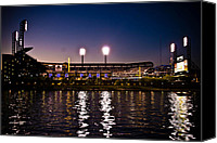 Pittsburgh Pirates Canvas Prints - PNC Park at Night Canvas Print by Kayla Yankovic