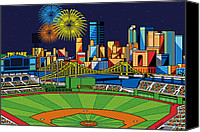 Sports Art Digital Art Canvas Prints - PNC Park fireworks Canvas Print by Ron Magnes