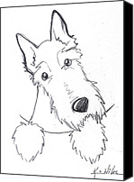 Scottie Dog Canvas Prints - Pocket Scottie Sketch Canvas Print by Kim Niles