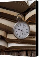Antique Books Canvas Prints - Pocket watch on pile of books Canvas Print by Garry Gay