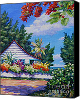 Cuba Painting Canvas Prints - Poinciana and Cottage Canvas Print by John Clark