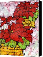 Impressionism Tapestries - Textiles Canvas Prints - Poinsettias Batik Canvas Print by Kristine Allphin
