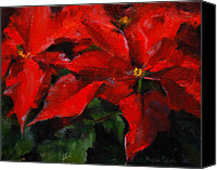 Holiday Drawings Canvas Prints - Poinsettias Canvas Print by MaryAnn Cleary