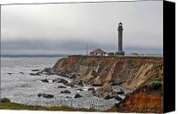 Damp Canvas Prints - Point Arena Lighthouse CA Canvas Print by Christine Till
