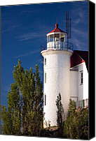 Beacon Canvas Prints - Point Betsie Lighthouse Michigan Canvas Print by Adam Romanowicz