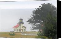 Octagonal Canvas Prints - Point Cabrillo Light Station CA - Lighthouse in damp costal fog Canvas Print by Christine Till