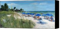 Rocks Painting Canvas Prints - Point of Rocks on Siesta Key Canvas Print by Shawn McLoughlin