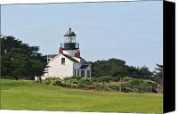 Maritime Canvas Prints - Point Pinos Light - Lighthouse on the golf course - Pacific Grove Monterey Central CA Canvas Print by Christine Till