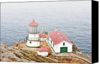 Damp Canvas Prints - Point Reyes Lighthouse at Point Reyes National Seashore CA Canvas Print by Christine Till