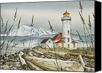 Framed Fine Art  Canvas Prints - Point Wilson Lighthouse Canvas Print by James Williamson