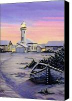 Point Wilson Lighthouse Canvas Prints - Point Wilson Snow 1995 Canvas Print by James Lyman