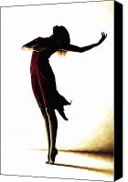 Woman Art Canvas Prints - Poise in Silhouette Canvas Print by Richard Young