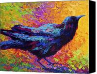 Crows Canvas Prints - Poised - Crow Canvas Print by Marion Rose