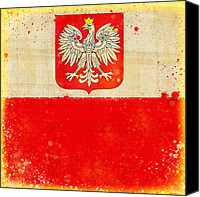 Abstract Map Pastels Canvas Prints - Poland flag Canvas Print by Setsiri Silapasuwanchai