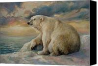 Polar Bear Canvas Prints - Polar Bear rests on the ice. Canvas Print by Svitozar Nenyuk