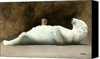 Humor. Painting Canvas Prints - Polar beer... Canvas Print by Will Bullas