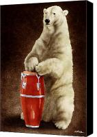 Polar Bear Canvas Prints - Polar Percussion... Canvas Print by Will Bullas
