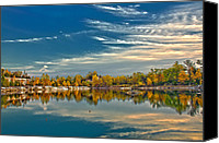Saint Louis Canvas Prints - Polarizing Autumn Lake Canvas Print by Bill Tiepelman