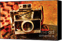 Antiques Digital Art Canvas Prints - Polaroid Land Camera Model 100 . Painterly . 7D13289 Canvas Print by Wingsdomain Art and Photography