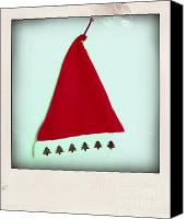 Indoors Inside Canvas Prints - Polaroid of a Christmas hat Canvas Print by Bernard Jaubert