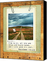 Stormy Canvas Prints - Polaroid on Weathered Wood with Bible Verse Canvas Print by Jill Battaglia