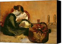 Signed Photo Canvas Prints - Polishing Pans  Canvas Print by Marianne Stokes