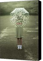 Stilettos Canvas Prints - Polka Dotted Umbrella Canvas Print by Joana Kruse