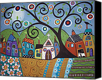 Houses Canvas Prints - Polkadot Church Canvas Print by Karla Gerard