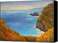 Pamela Allegretto-franz Canvas Prints - Pololu Valley Lookout Canvas Print by Pamela Allegretto