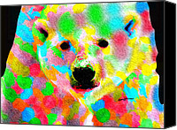 Chromatic Canvas Prints - Polychromatic Polar Bear Canvas Print by Anthony Caruso