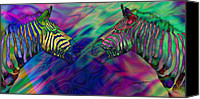 Chromatic Canvas Prints - Polychromatic Zebras Canvas Print by Anthony Caruso