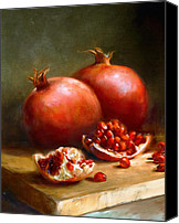 Still-life Canvas Prints - Pomegranates Canvas Print by Robert Papp