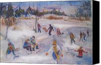 Ice Figures Canvas Prints - Pond Eddy Skating Canvas Print by Joyce Kanyuk