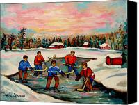 Childrens Sports Painting Canvas Prints - Pond Hockey Countryscene Canvas Print by Carole Spandau