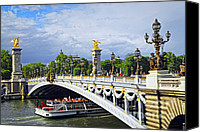 Pont Canvas Prints - Pont Alexander III Canvas Print by Elena Elisseeva