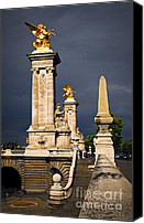 Pont Canvas Prints - Pont Alexander III in Paris before storm Canvas Print by Elena Elisseeva