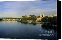 Worth Canvas Prints - Pont dAvignon et Palais des Papes. Canvas Print by Bernard Jaubert