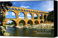 Engineering Canvas Prints - Pont du Gard in southern France Canvas Print by Elena Elisseeva