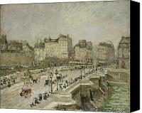 Carriages Canvas Prints - Pont Neuf Snow Effect Canvas Print by Camille Pissarro