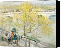 Carriages Canvas Prints - Pont Royal Paris Canvas Print by Childe Hassam